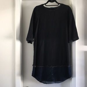 Zara Trafaluc black & blue denim shirt dress